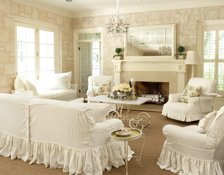 White slipcovers on furniture