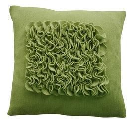 felted pillow, green pillow, eco-friendly pillow