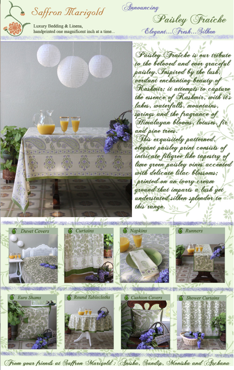 Paisley Fraiche ~ Lime Green on Ivory Bedding, Curtains & Table Linens