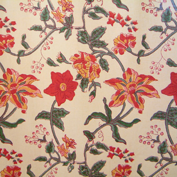 Colorful Country Red Floral Indian Cotton Fabric