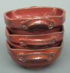 Thanksgiving table settings, red bowls, iron oxide bowls, handled bowls