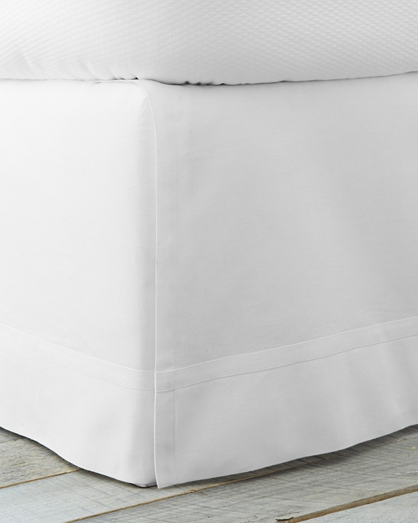 A white bed skirt is a serene choice to pair with a white comforter or white duvet cover.