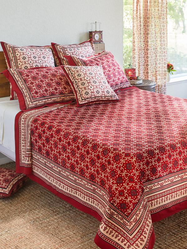 Ruby Kilim ~ Rustic Red Black Luxury Designer Bedspread