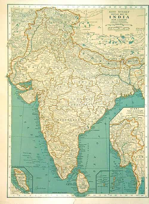 antique map, india