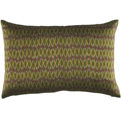 green silk pillow, ikat pillow