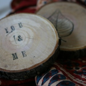 Hand-stamped wood circles