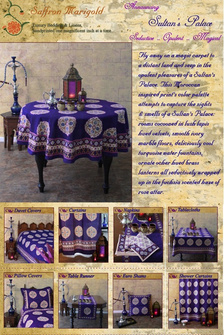 Moroccan Blue Bedding and Table Linens