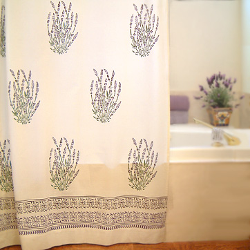 French Provence white fabric shower curtain