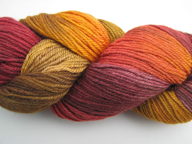 orange gold purple silk yarn