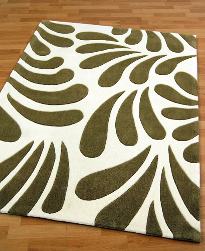 Sage Green and White Rug