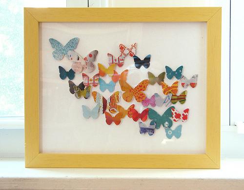 framed paper butterfly art
