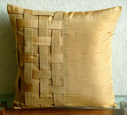 gold basket weave throw pillow