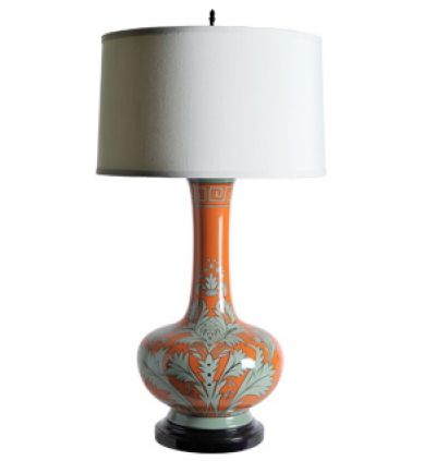 orange and gray table lamp