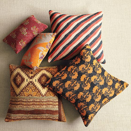 recycled sari pillows