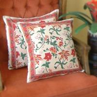 tangerine floral pillows