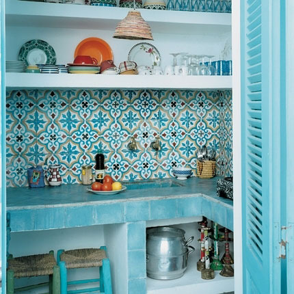blue moroccan inspired interior