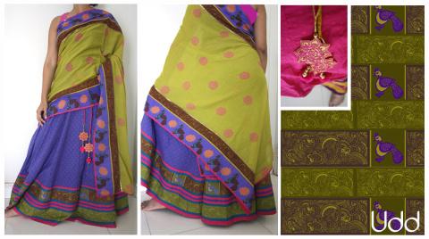 Half Sari Saree Set - Udd Fabric Design