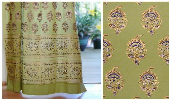 Decorative Asian Green Tab Top Curtain