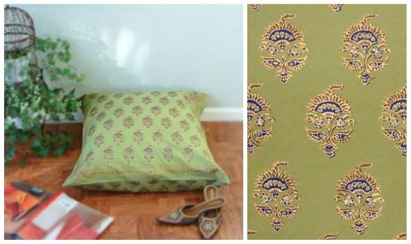 Asian Green Floral Euro Pillow Sham Cover