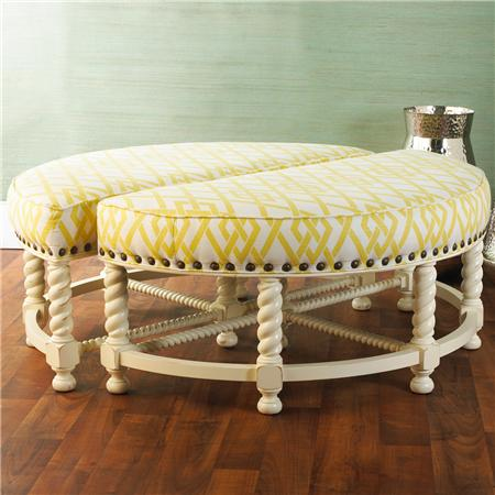 Half Round Nailhead Ottoman - Shades of Light