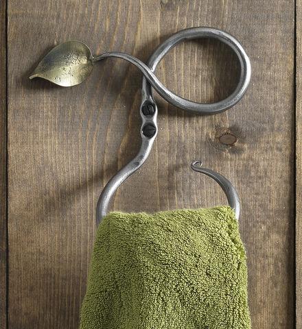 Hand forged leaf towel ring, Gaiam