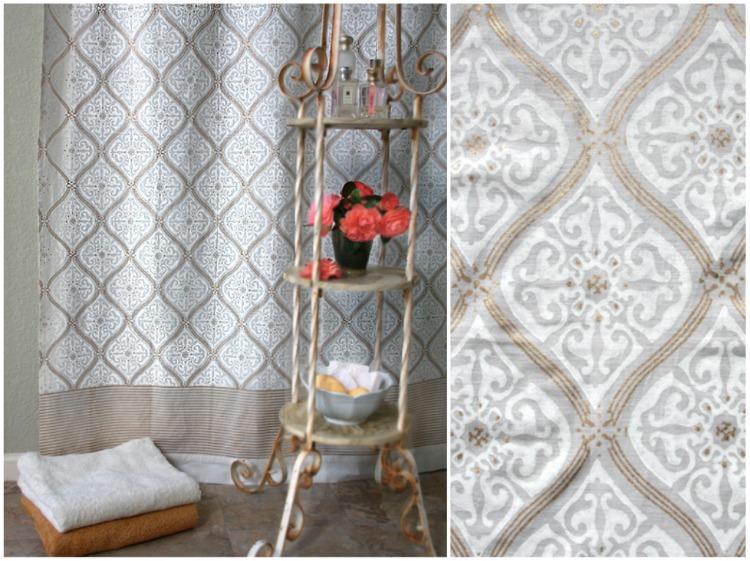 White Gold Romantic Elegant Luxury Shower Curtain