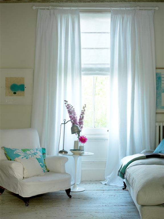 White sheer cotton curtains