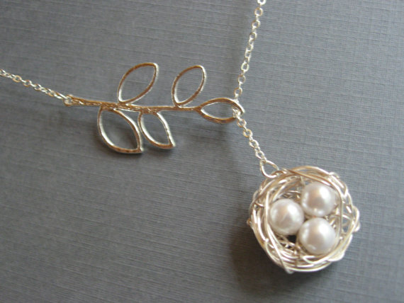 Silver Bird Nest Necklace