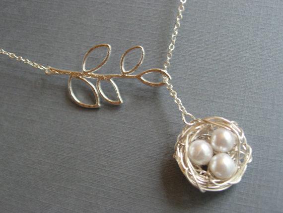 Silver Bird Nest Necklace, DevinMichaels