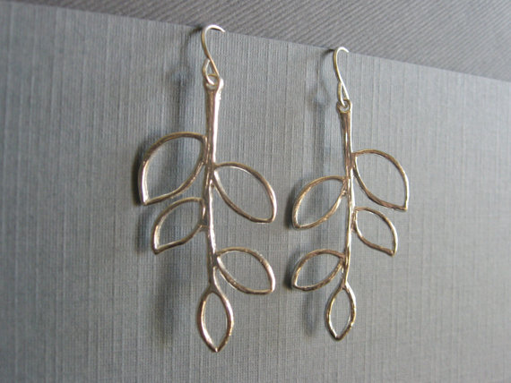 Silver plated five leaf branch earrings, DevinMichaels