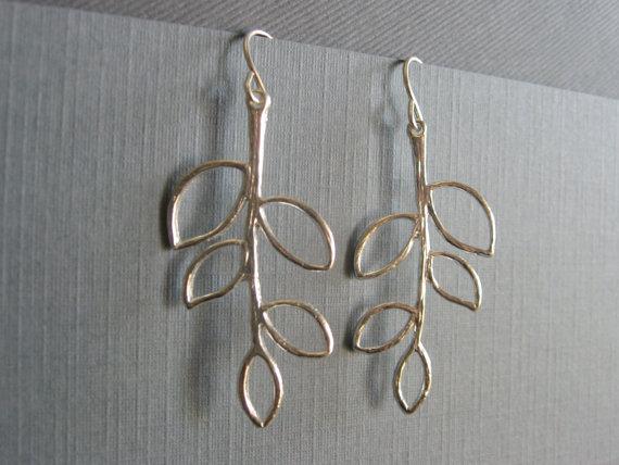 Silver plated five leaf branch earrings, DevinMichaels
