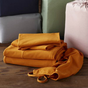 mustard colored cotton bed sheets