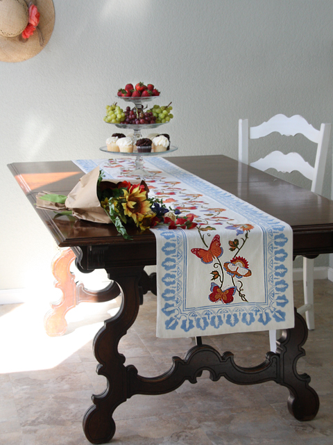 Blue and white french country butterfly table runner