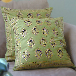 Asian Green Floral Pillow Cushion Cover