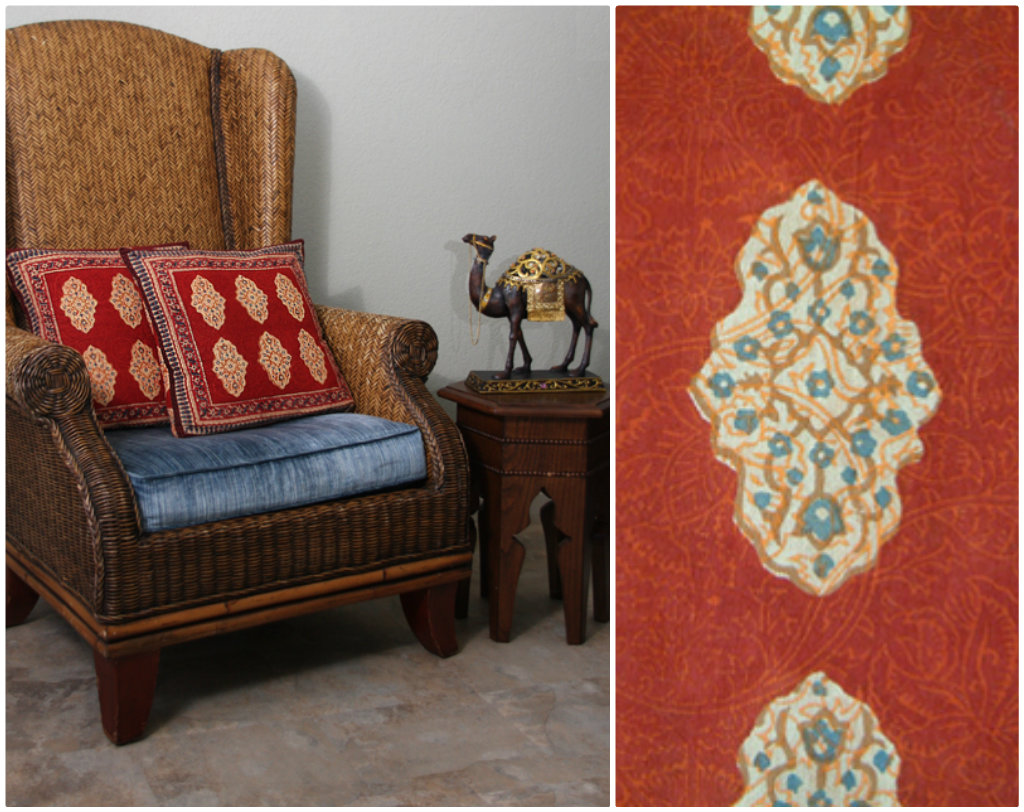 red moroccan throw pillow