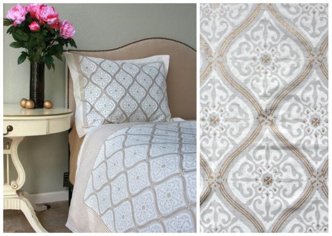 Elegant romantic white and gold bedding