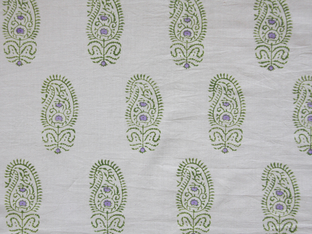 hand printed green and white duvet