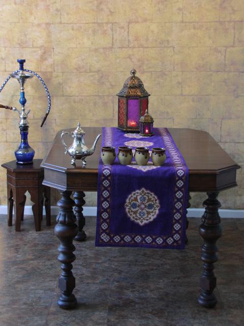 Purple Blue Table Runner Moroccan Vintage Cotton Saffron Marigold