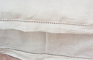 white hemstitched pillow shams