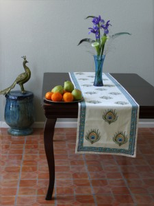 Colorful table runner for round table