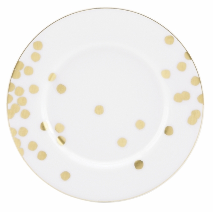 white and gold wedding plates
