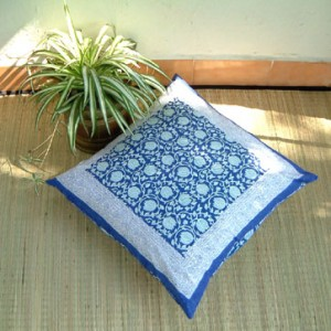 blue asian floral euro sham cover