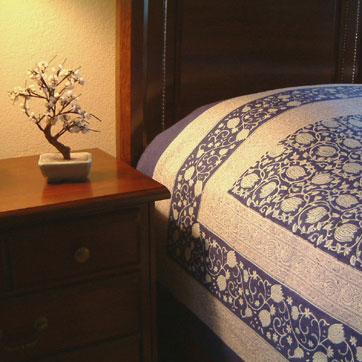 Asian Blue Oriental Floral Queen Duvet Cover
