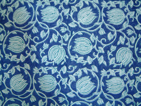 blue asian floral fabric