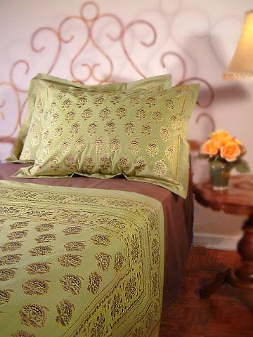 Asian Green Floral Pillow Sham