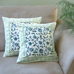 Exotic India Turquoise Floral Throw Cushion Cover
