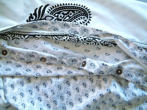 Black and white paisley duvet