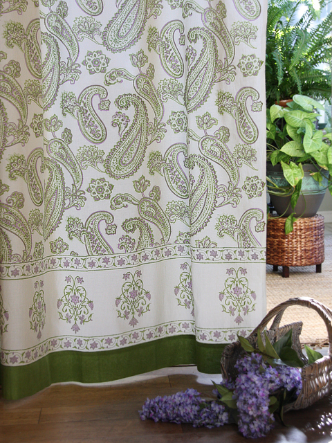 Green paisley curtains