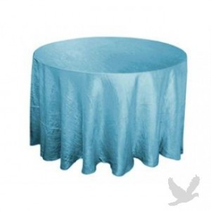 round blue tablecloth