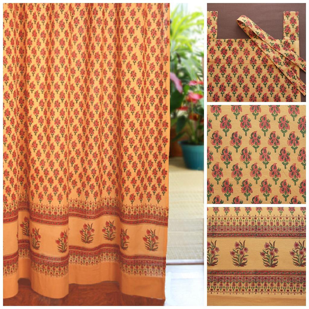 orange paisley sari print curtains